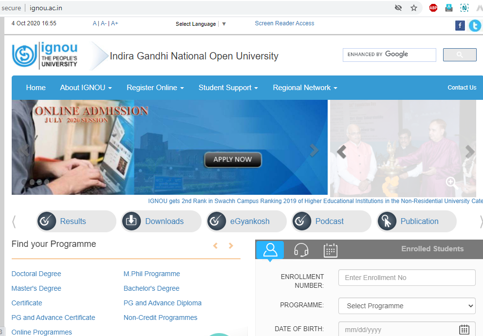 IGNOU Official homepage